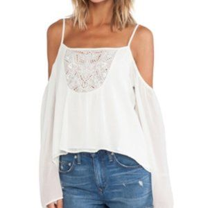 Lovers + Friends Embroidered Cold Shoulder Top